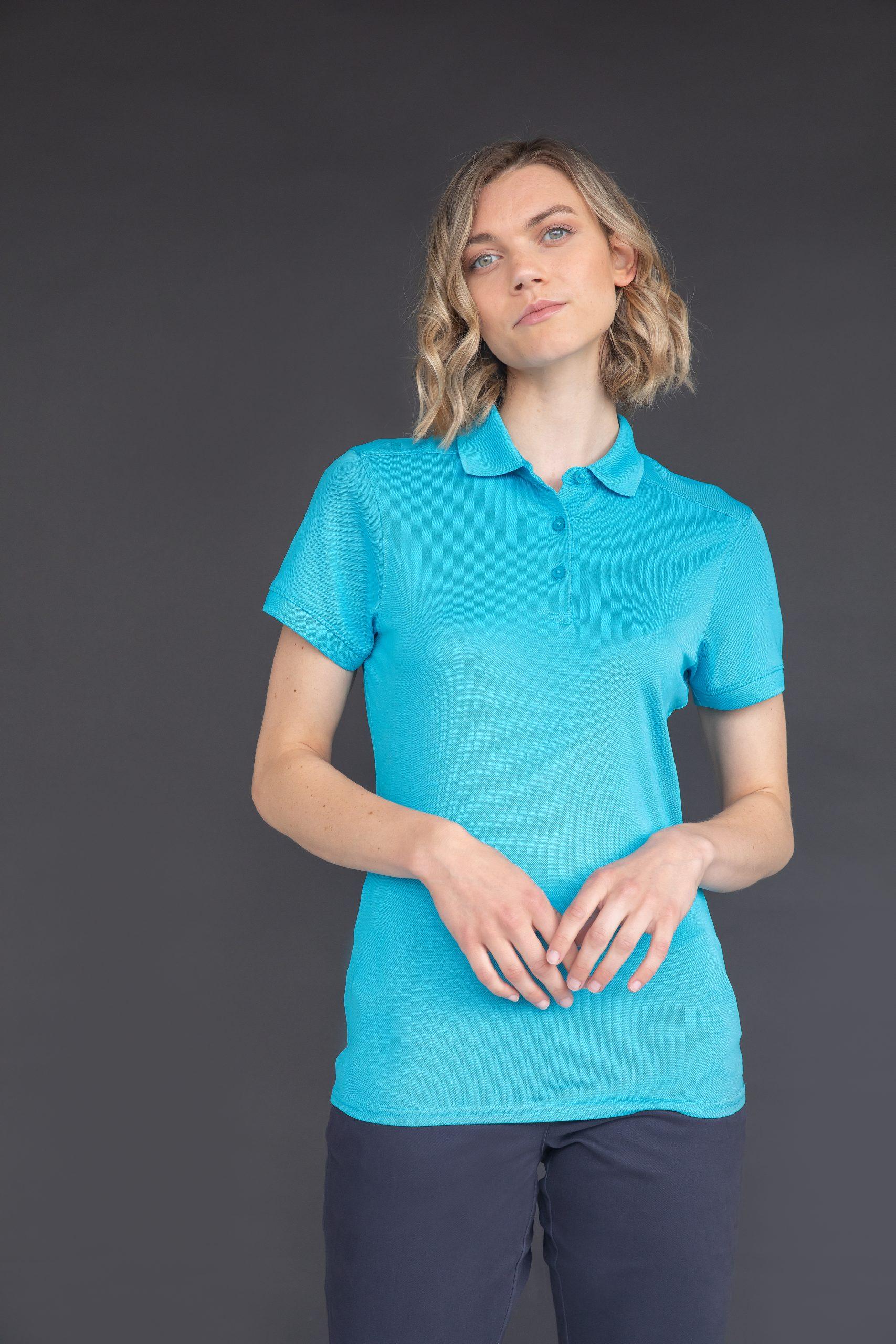 Ladies Stretch Rib Short-Sleeve T-Shirt TURQUOISE 2XL
